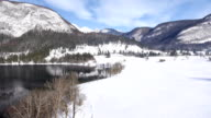 AERIAL: Snow landscape with a lake video