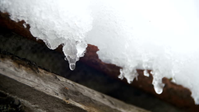 Snow Melts from the Roofs and Drips Down in the Spring. Slow Motion video