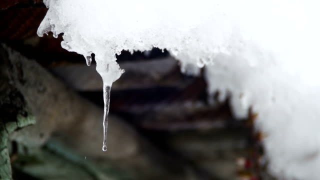 Snow Melts from the Roofs and Drips Down in the Spring video