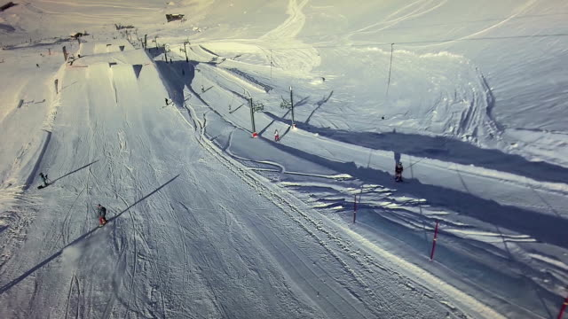 snow mountain panorama. aerial view. winter landscape video