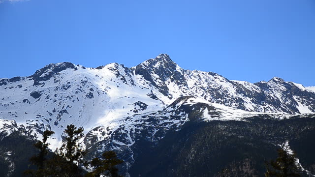 Snow Mountain Range Landscape with Blue Sky Backgrounds video