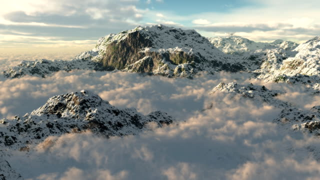 Snow Mountains Clouds Winter Wilderness Climbing Peaks Flying Mountaineering video