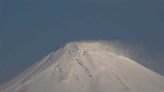 Snow peak of the active volcano Avacha breathing vapors from the earth video