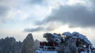 snow scene of Huangshan Mountain timelapse 4k video