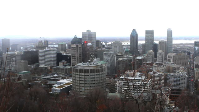 Snow storm approaching in Montreal downtown video