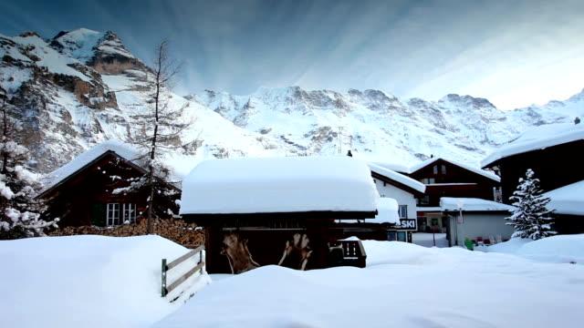 snow village under Jungfrau video