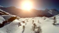 snow winter landscape aerial view video