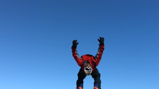 Snowboarder does backflip, slow motion video