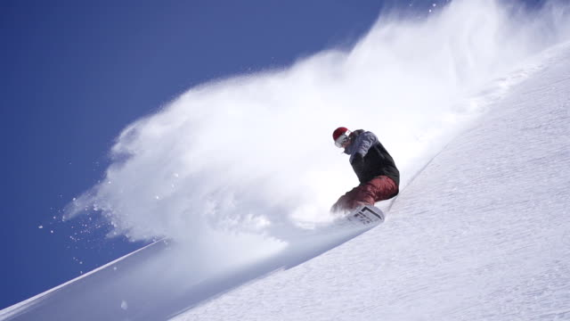 Snowboarder does powder turn video