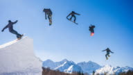 Snowboarder jump montage video