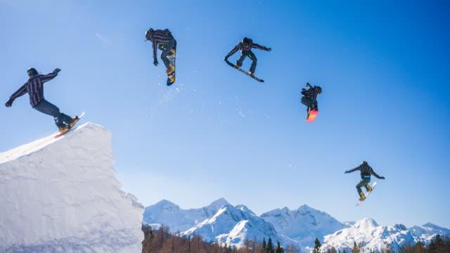 Snowboarder jump montage video