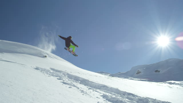 SLOW MOTION: Snowboarder jumping and crashing in powder video