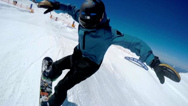 SLO MO Snowboarder jumping over kickers with camera on helmet video