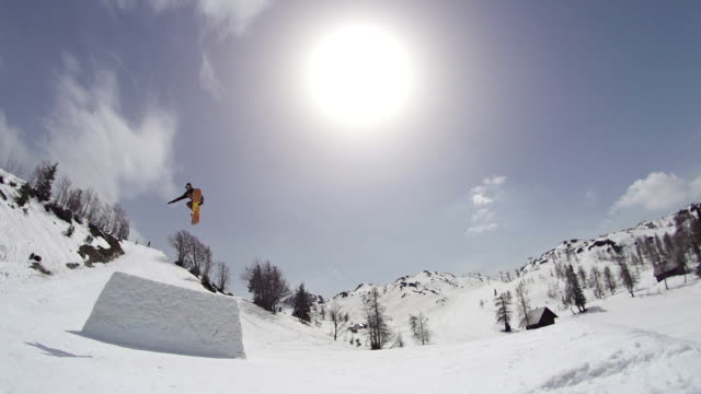 Snowboarder jumps over the camera video