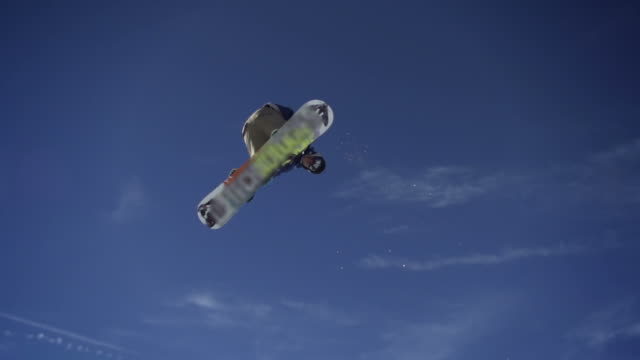 Snowboarder jumps over video