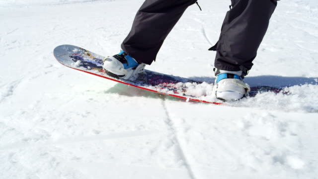 SLOW MOTION CLOSE UP: Snowboarder performing tricks while boarding video