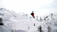 Snowboarder rotates in mid air video