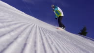 SLOW MOTION: Snowboarder sprays snow into the camera video