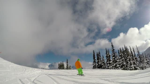 Snowboarding follow cam video