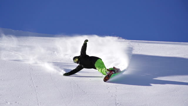 Snowboarding fresh snow turn video