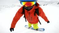 snowboarding in circles face view video