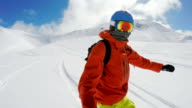 snowboarding on a freeride video