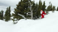 Snowboarding Santa Claus crashes video