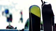 Snowboards At Ski Resort Closeup video