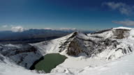 Snowbound craters and a crater lake of active Gorely Volcano on Kamchatka Peninsula video