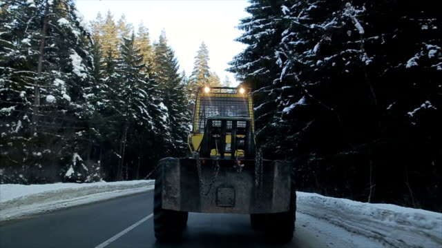 Snow-cleansing vehicle on the road video