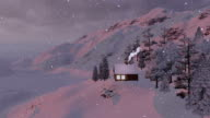 Snow-covered little house in the mountains video