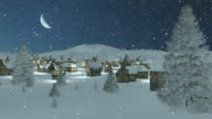 Snow-covered town at snowfall night with moon video