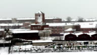 Snow-covered town of Kostroma industrial buildings, 2011 video