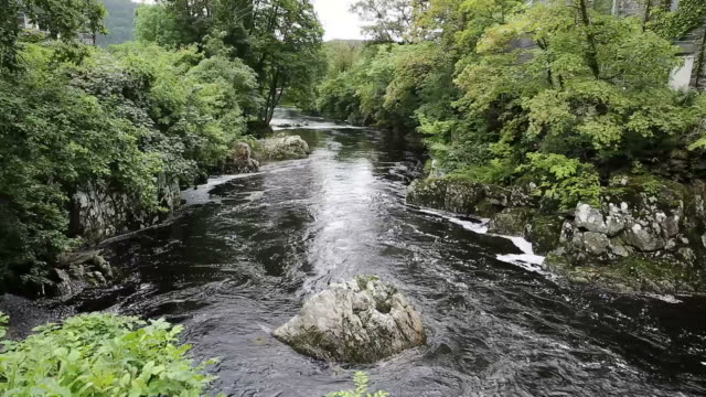 Snowdonia National Park river flowing through beautiful Welsh tourist destination video