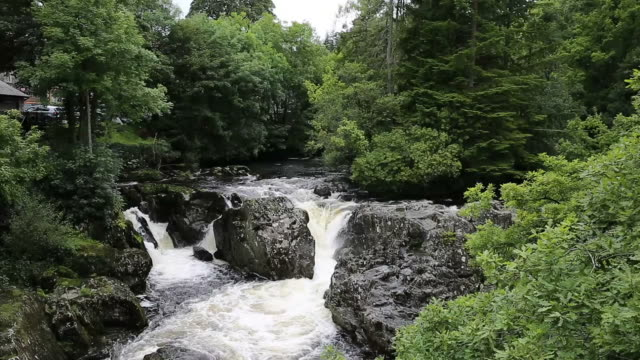 Snowdonia National Park Wales fast flowing river Betws-y-Coed UK video