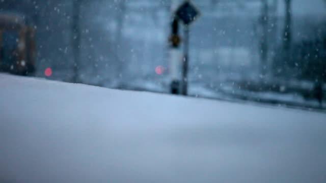 Snowfall over the tracks video
