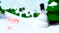 Snowman Happy Holidays happy waving animation winter snowflakes falling video