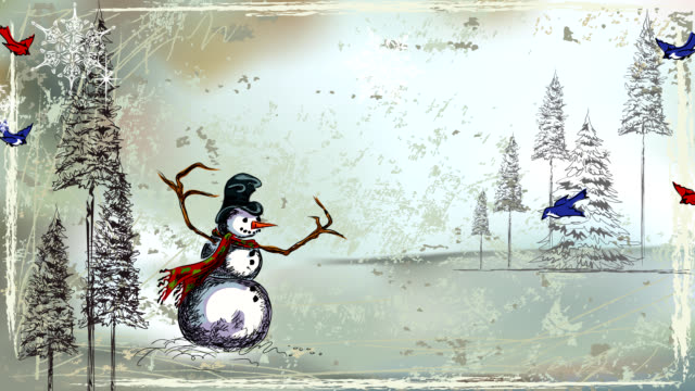 Snowman in a Silver Forest video