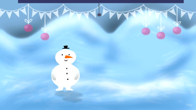 Snowman walking on a winter background video