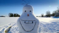 A snowman with a big smile on him video