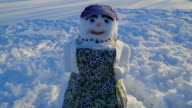 A snowman with an apron on his body video