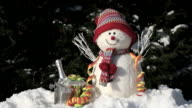 snowman with ice bucket and streamer video