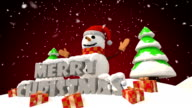 Snowman with Merry Christmas title HD video