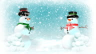 Snowmen having snowball fight. Loopable. Copy space version. video