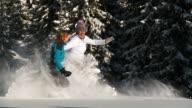 HD SLOW-MOTION: Snowshoe Walking video