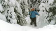 HD: Snowshoeing In Deep Snow video