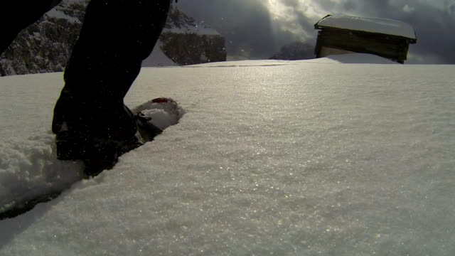 POV Snowshoeing in High Mountain Landscape video