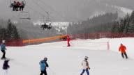 Snowstorm at the ski resort. video