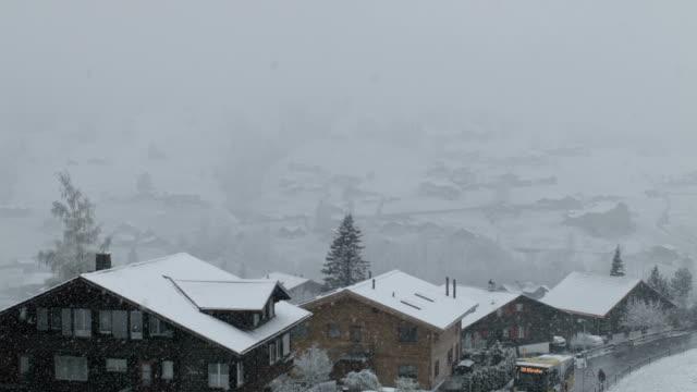 Snowstorm in Grindelwald Village video