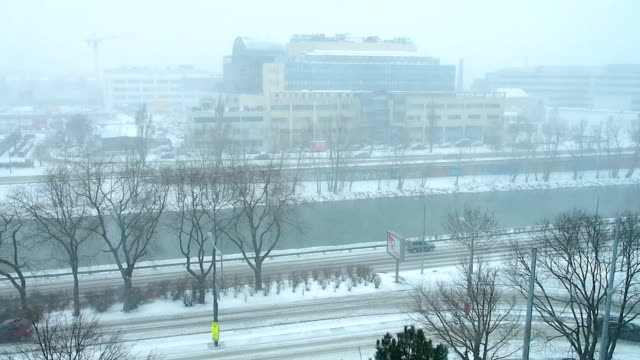 Snowstorm. Winter traffic. video